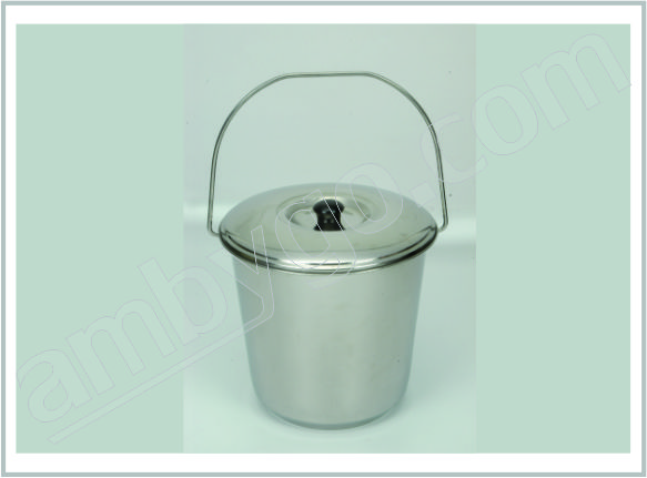 Bucket Stainless Steel with Cover, Seamless, Economy